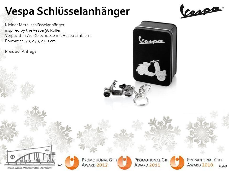 Vespa Schlüsselanhänger Kleiner Metallschlüsselanhänger inspired by the Vespa 98 Roller Verpackt in Weißblechdose mit Vespa Emblem Format ca. 7.5 x 7.