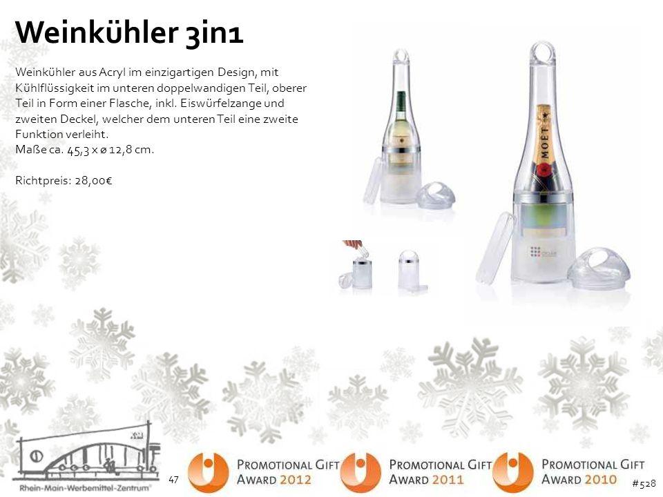 Weinkühler 3in1 Weinkühler aus Acryl im einzigartigen Design, mit Kühlflüssigkeit im unteren doppelwandigen Teil, oberer Teil in Form einer Flasche, i