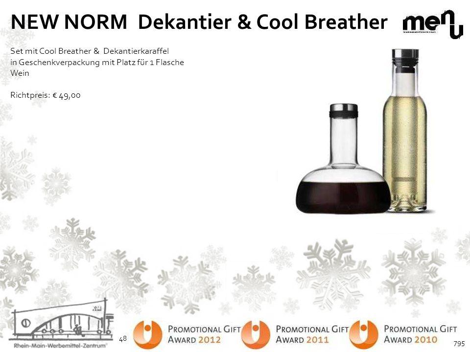 NEW NORM Dekantier & Cool Breather Set mit Cool Breather & Dekantierkaraffel in Geschenkverpackung mit Platz für 1 Flasche Wein Richtpreis: € 49,00 48