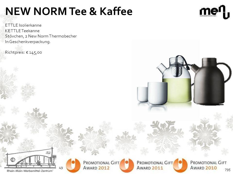 NEW NORM Tee & Kaffee ETTLE Isolierkanne KETTLE Teekanne Stövchen, 2 New Norm Thermobecher In Geschenkverpackung. Richtpreis: € 145,00 49 795