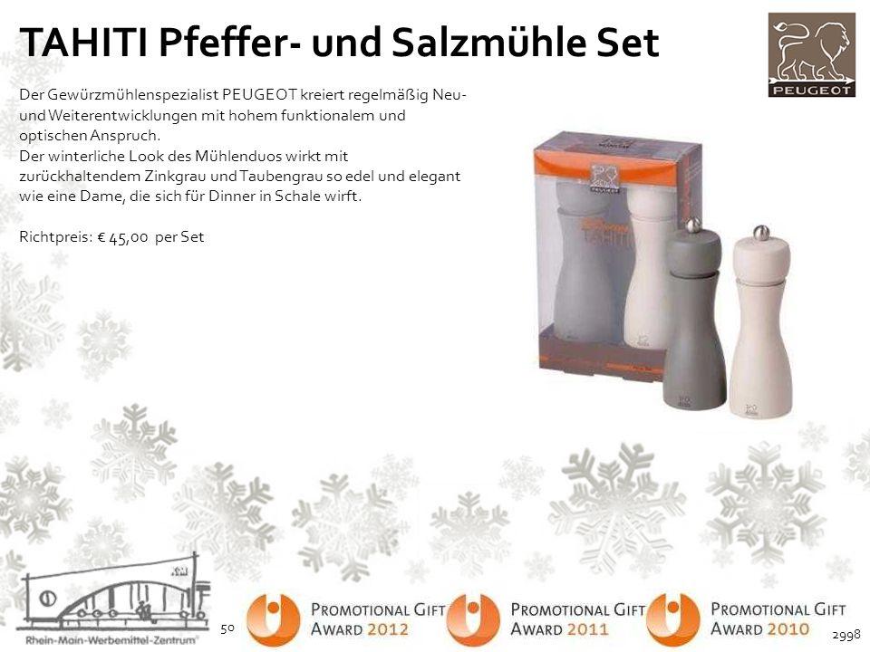 TAHITI Pfeffer- und Salzmühle Set Der Gewürzmühlenspezialist PEUGEOT kreiert regelmäßig Neu- und Weiterentwicklungen mit hohem funktionalem und optisc