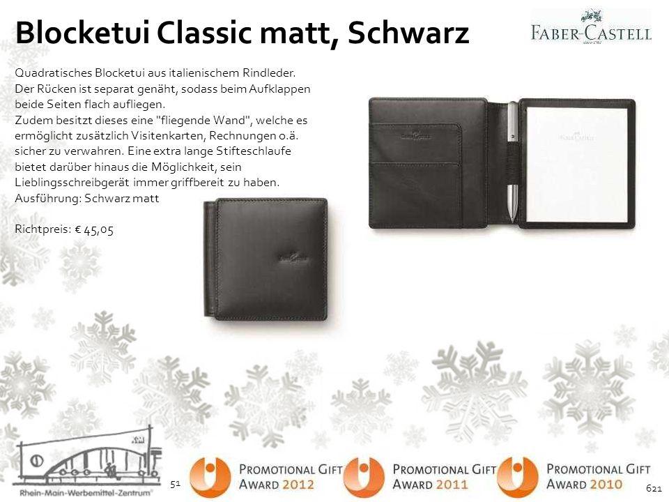 Blocketui Classic matt, Schwarz Quadratisches Blocketui aus italienischem Rindleder. Der Rücken ist separat genäht, sodass beim Aufklappen beide Seite