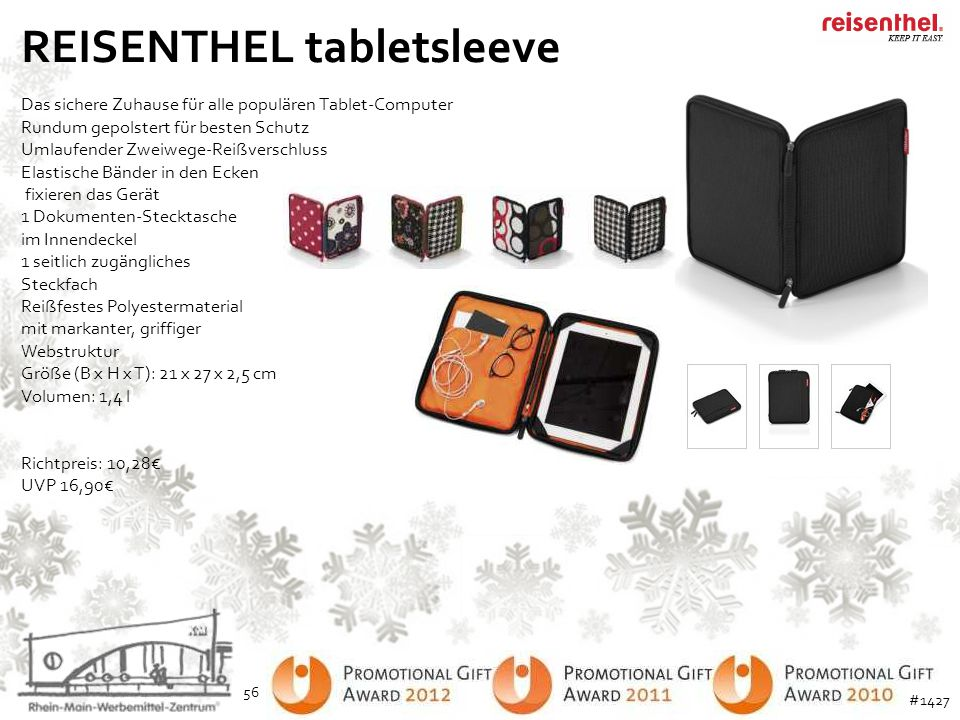 REISENTHEL tabletsleeve Das sichere Zuhause für alle populären Tablet-Computer Rundum gepolstert für besten Schutz Umlaufender Zweiwege-Reißverschluss