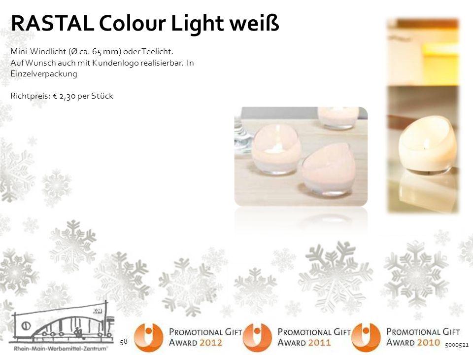 RASTAL Colour Light weiß Mini-Windlicht (Ø ca. 65 mm) oder Teelicht. Auf Wunsch auch mit Kundenlogo realisierbar. In Einzelverpackung Richtpreis: € 2,