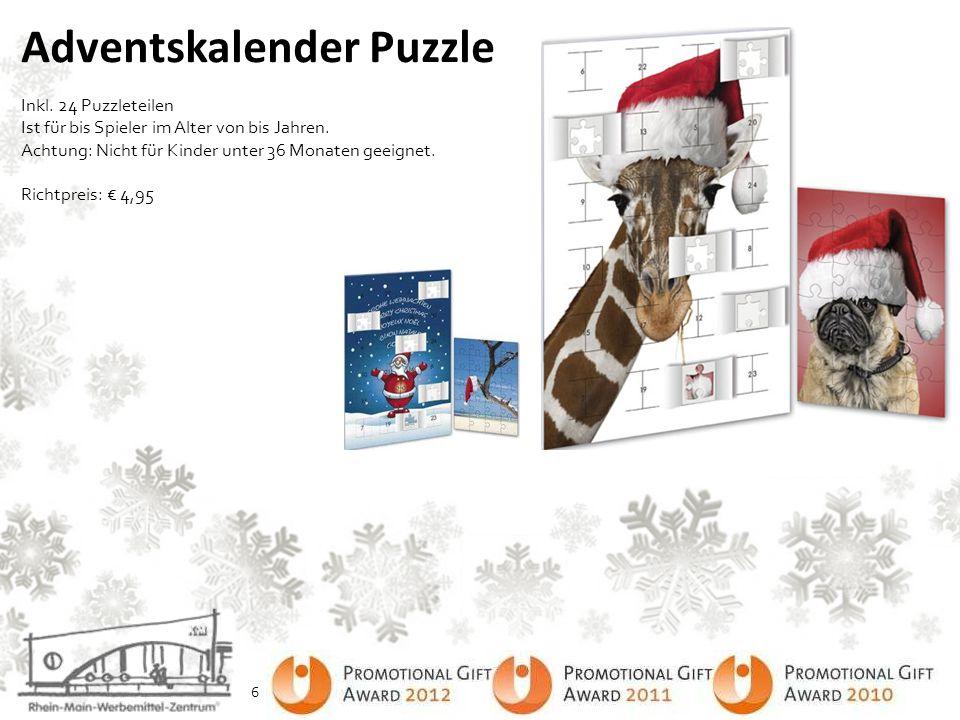 Adventskalender Puzzle Inkl. 24 Puzzleteilen Ist für bis Spieler im Alter von bis Jahren. Achtung: Nicht für Kinder unter 36 Monaten geeignet. Richtpr