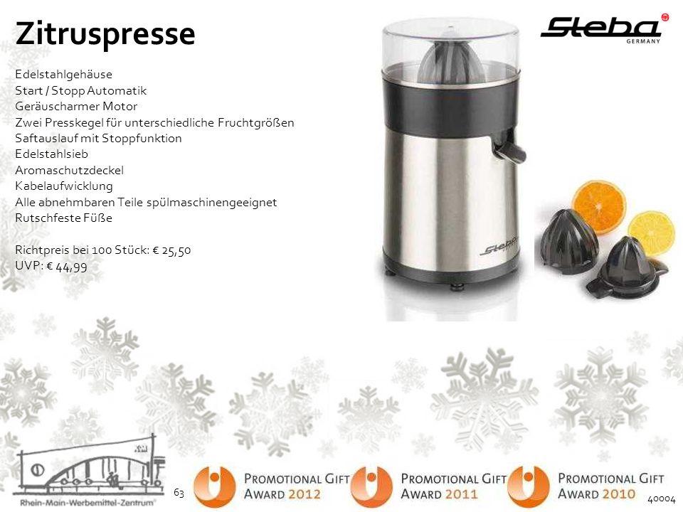 Zitruspresse Edelstahlgehäuse Start / Stopp Automatik Geräuscharmer Motor Zwei Presskegel für unterschiedliche Fruchtgrößen Saftauslauf mit Stoppfunkt