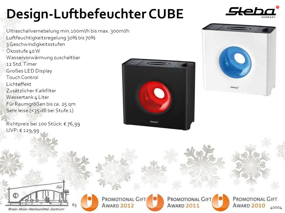 Design-Luftbefeuchter CUBE Ultraschallvernebelung min.100ml/h bis max. 300ml/h Luftfeuchtigkeitsregelung 30% bis 70% 3 Geschwindigkeitsstufen Ökostufe
