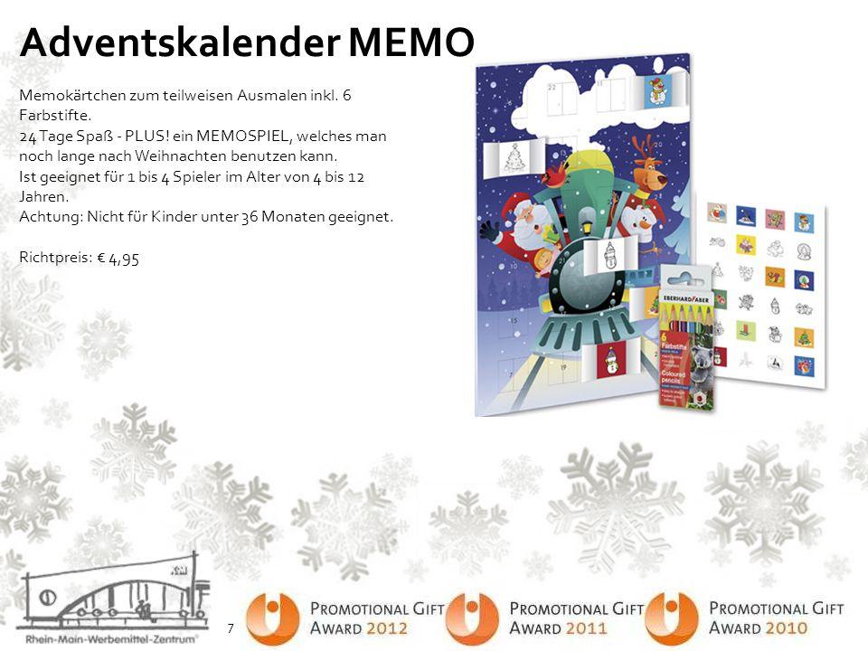 Adventskalender MEMO Memokärtchen zum teilweisen Ausmalen inkl. 6 Farbstifte. 24 Tage Spaß - PLUS! ein MEMOSPIEL, welches man noch lange nach Weihnach
