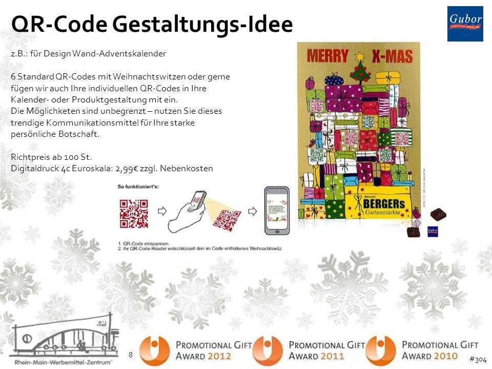 QR-Code Gestaltungs-Idee z.B.: für Design Wand-Adventskalender 6 Standard QR-Codes mit Weihnachtswitzen oder gerne fügen wir auch Ihre individuellen Q