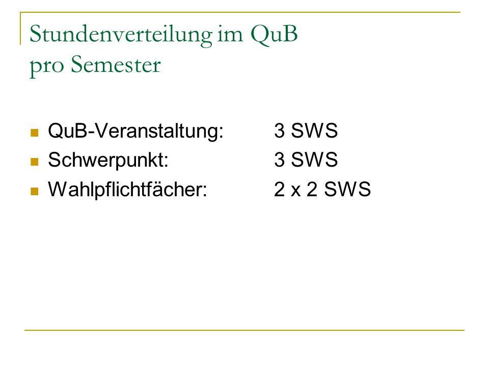 Stundenverteilung im QuB pro Semester QuB-Veranstaltung: 3 SWS Schwerpunkt:3 SWS Wahlpflichtfächer: 2 x 2 SWS