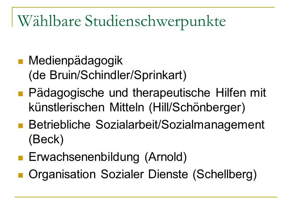 Wählbare Studienschwerpunkte Medienpädagogik (de Bruin/Schindler/Sprinkart) Pädagogische und therapeutische Hilfen mit künstlerischen Mitteln (Hill/Schönberger) Betriebliche Sozialarbeit/Sozialmanagement (Beck) Erwachsenenbildung (Arnold) Organisation Sozialer Dienste (Schellberg)