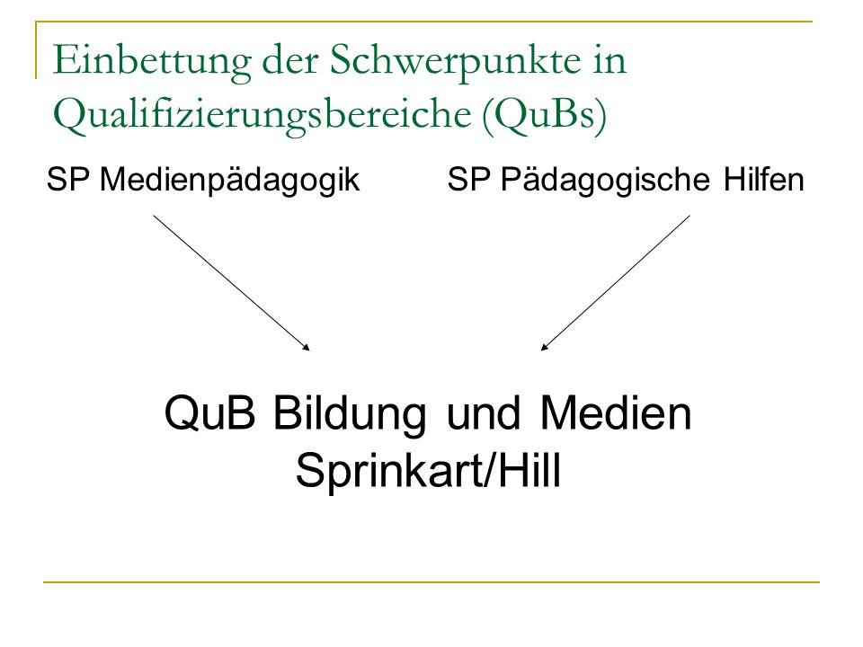 Einbettung der Schwerpunkte in QuBs SP Betriebliche Sozialarbeit/ Sozialmanagement SP Erwachsenenbildung QuB Organisation, Management Gemeinwesen (Schellberg) SP Organisation Sozialer Dienste