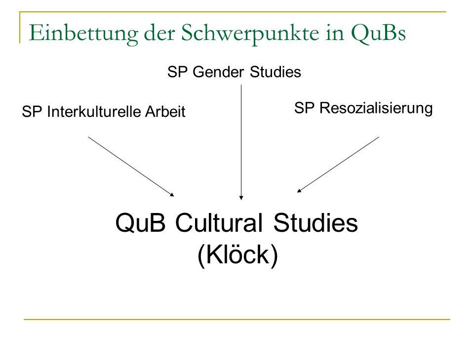 Einbettung der Schwerpunkte in QuBs SP Interkulturelle Arbeit SP Gender Studies QuB Cultural Studies (Klöck) SP Resozialisierung