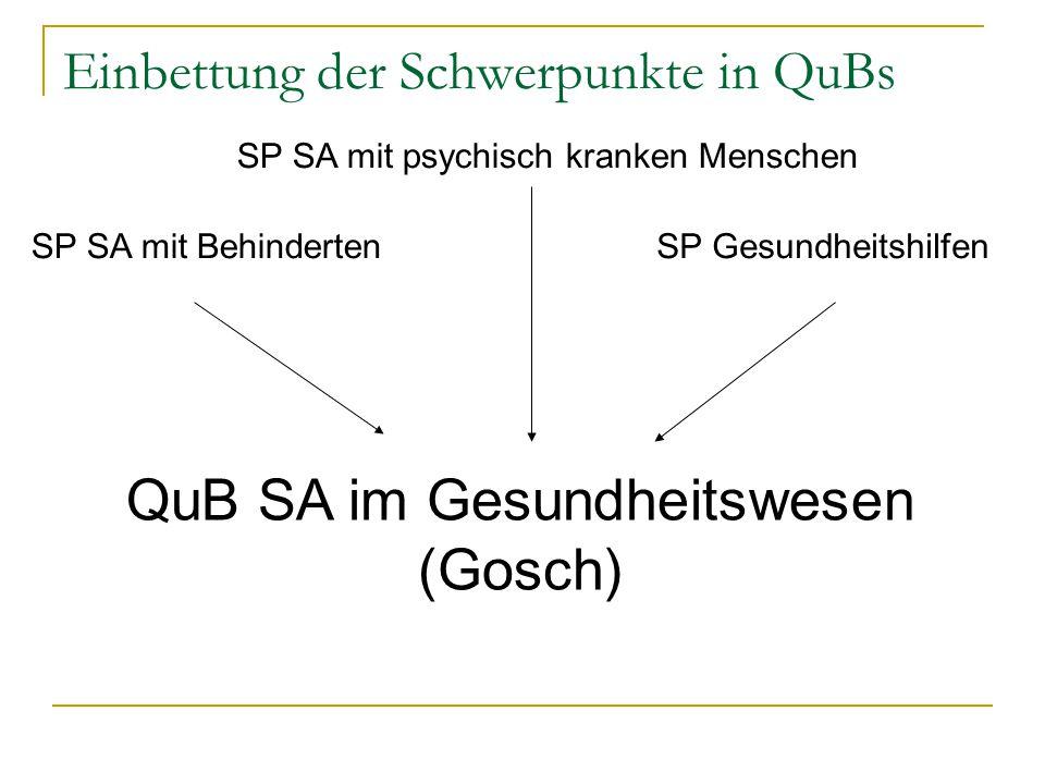 Einbettung der Schwerpunkte in QuBs SP SA mit Behinderten SP SA mit psychisch kranken Menschen QuB SA im Gesundheitswesen (Gosch) SP Gesundheitshilfen