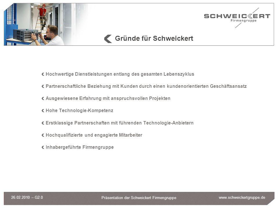 """www.schweickertgruppe.de Präsentation der Schweickert Firmengruppe 26.02.2010 – G2.0 Unser Versprechen """"Wir sind uns seit dem Jahr 1962 treu geblieben."""