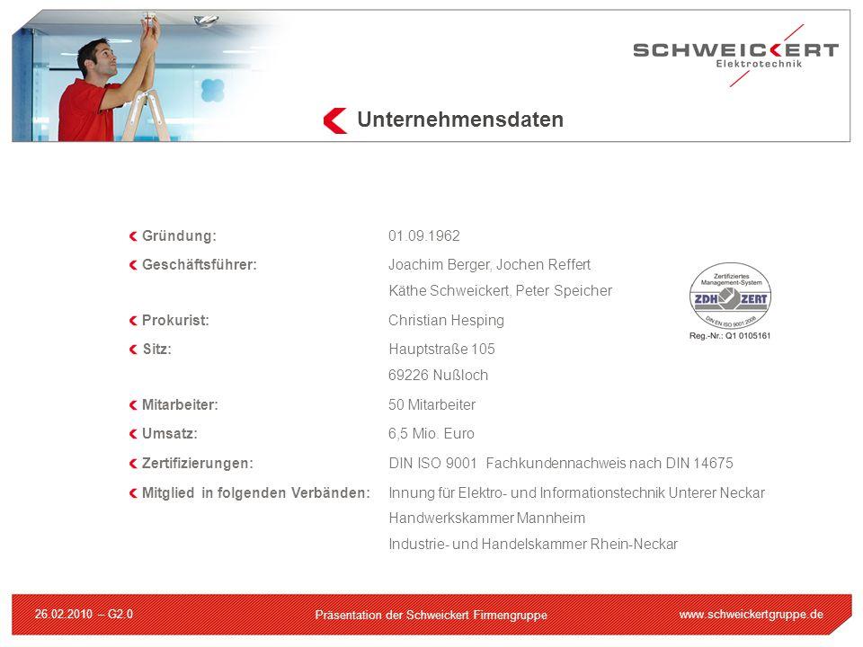 www.schweickertgruppe.de Präsentation der Schweickert Firmengruppe 26.02.2010 – G2.0 Strategische Partner