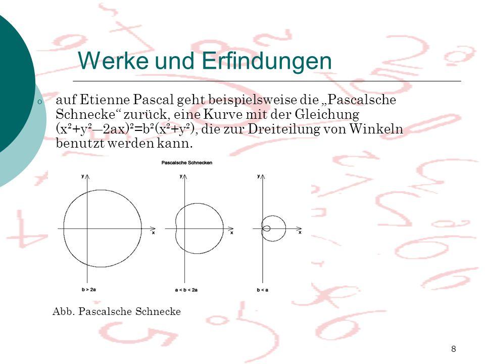"""8 Werke und Erfindungen o auf Etienne Pascal geht beispielsweise die """"Pascalsche Schnecke zurück, eine Kurve mit der Gleichung (x²+y²―2ax)²=b²(x²+y²), die zur Dreiteilung von Winkeln benutzt werden kann."""