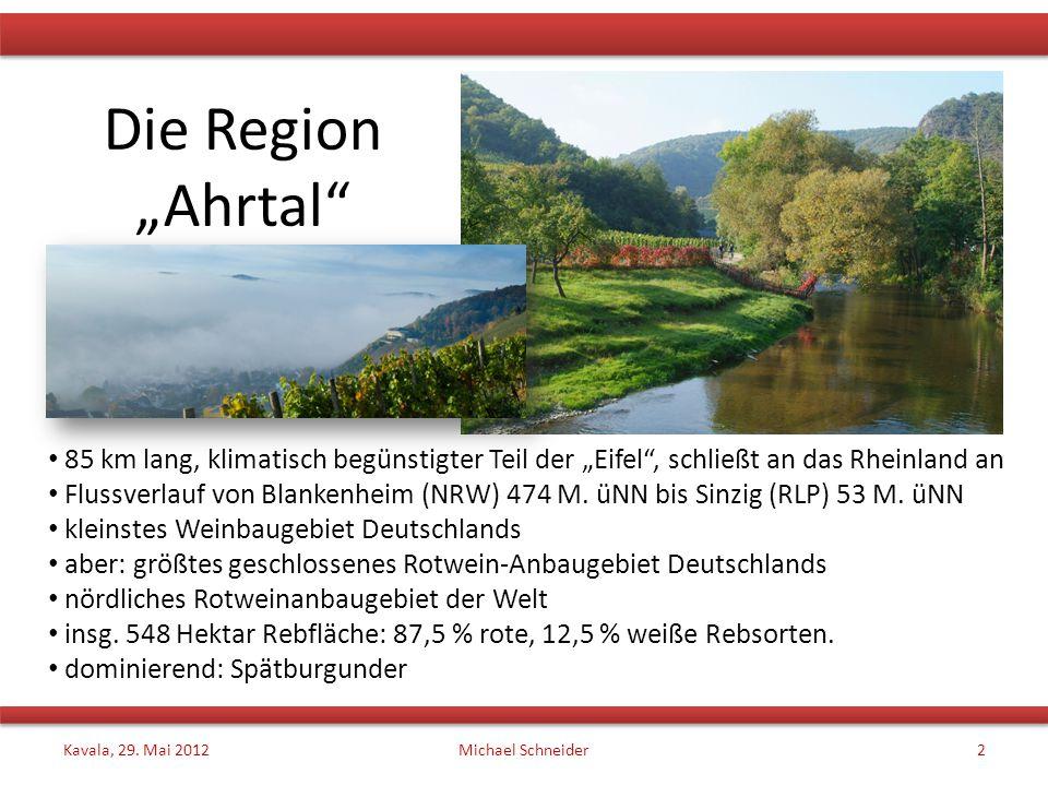 """Die Region """"Ahrtal"""" 85 km lang, klimatisch begünstigter Teil der """"Eifel"""", schließt an das Rheinland an Flussverlauf von Blankenheim (NRW) 474 M. üNN b"""