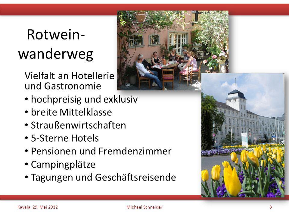 Rotwein- wanderweg Vielfalt an Hotellerie und Gastronomie hochpreisig und exklusiv breite Mittelklasse Straußenwirtschaften 5-Sterne Hotels Pensionen und Fremdenzimmer Campingplätze Tagungen und Geschäftsreisende Kavala, 29.
