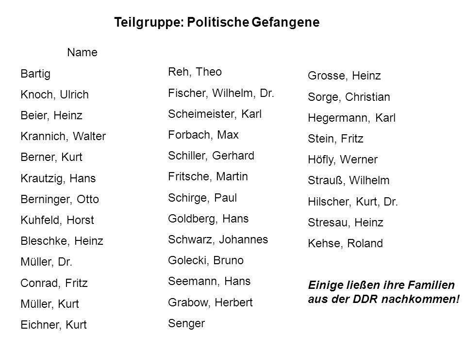Name Bartig Knoch, Ulrich Beier, Heinz Krannich, Walter Berner, Kurt Krautzig, Hans Berninger, Otto Kuhfeld, Horst Bleschke, Heinz Müller, Dr. Conrad,