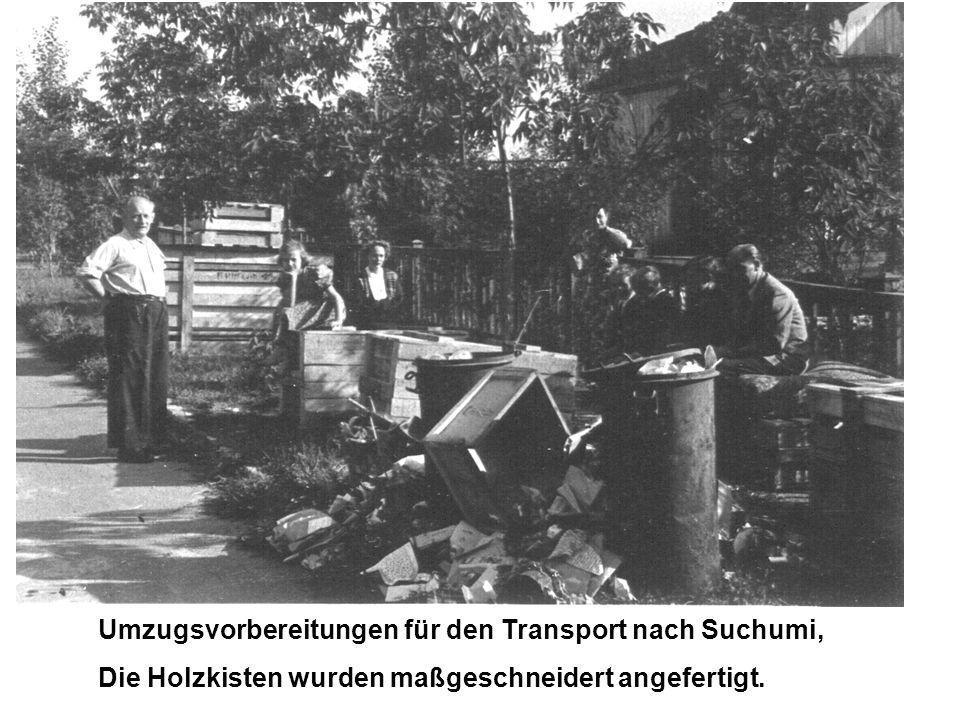 Umzugsvorbereitungen für den Transport nach Suchumi, Die Holzkisten wurden maßgeschneidert angefertigt.