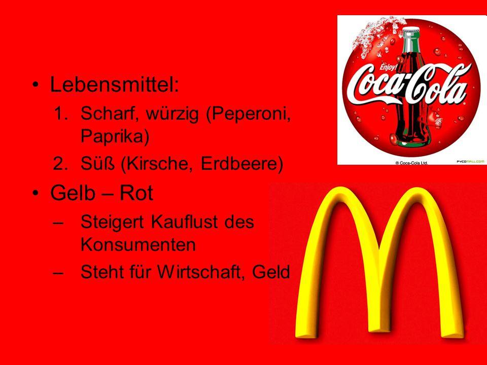 Lebensmittel: 1.Scharf, würzig (Peperoni, Paprika) 2.Süß (Kirsche, Erdbeere) Gelb – Rot –Steigert Kauflust des Konsumenten –Steht für Wirtschaft, Geld