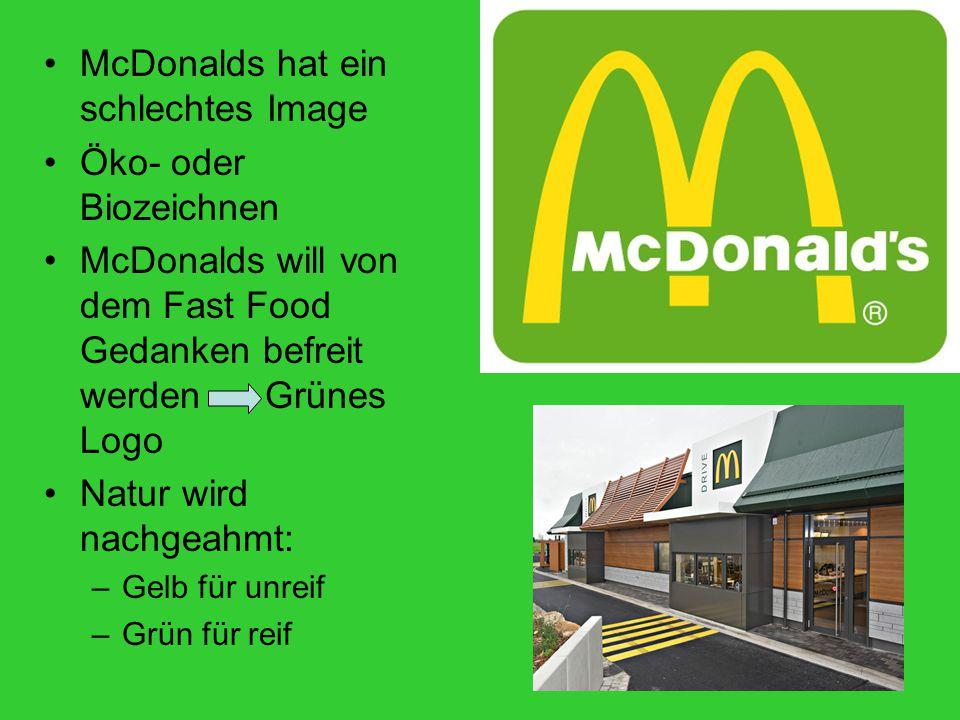 McDonalds hat ein schlechtes Image Öko- oder Biozeichnen McDonalds will von dem Fast Food Gedanken befreit werden Grünes Logo Natur wird nachgeahmt: –Gelb für unreif –Grün für reif