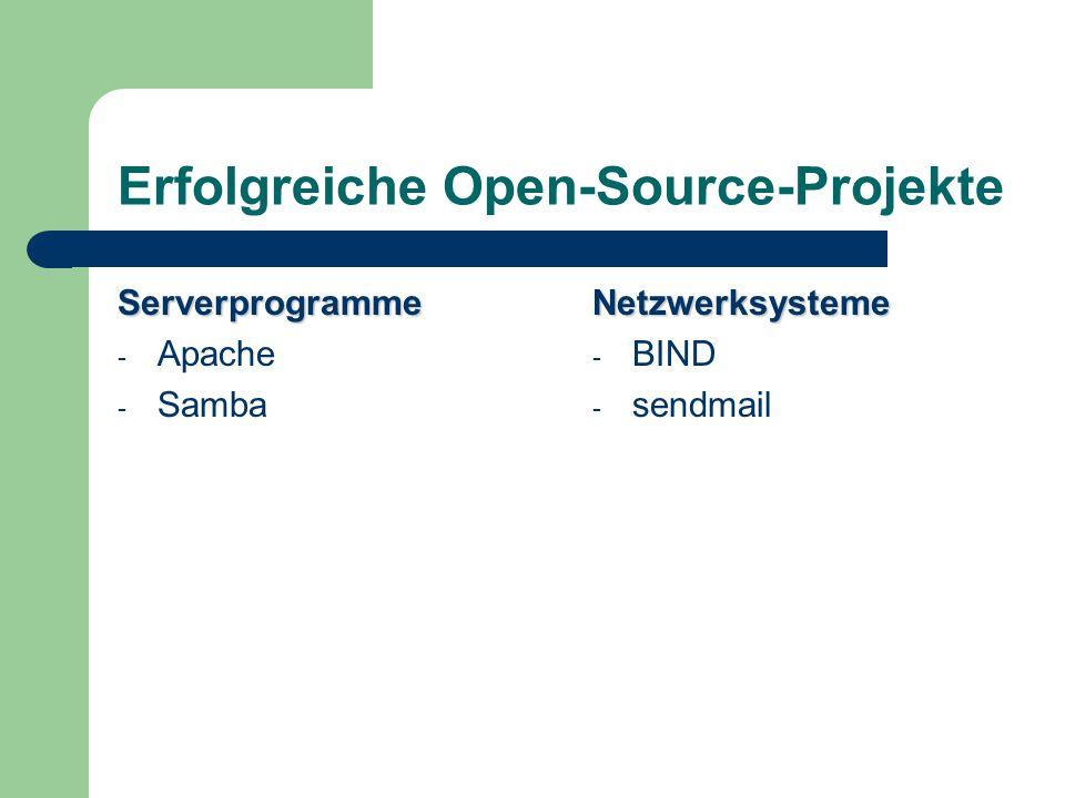Erfolgreiche Open-Source-Projekte Serverprogramme - Apache - SambaNetzwerksysteme - BIND - sendmail