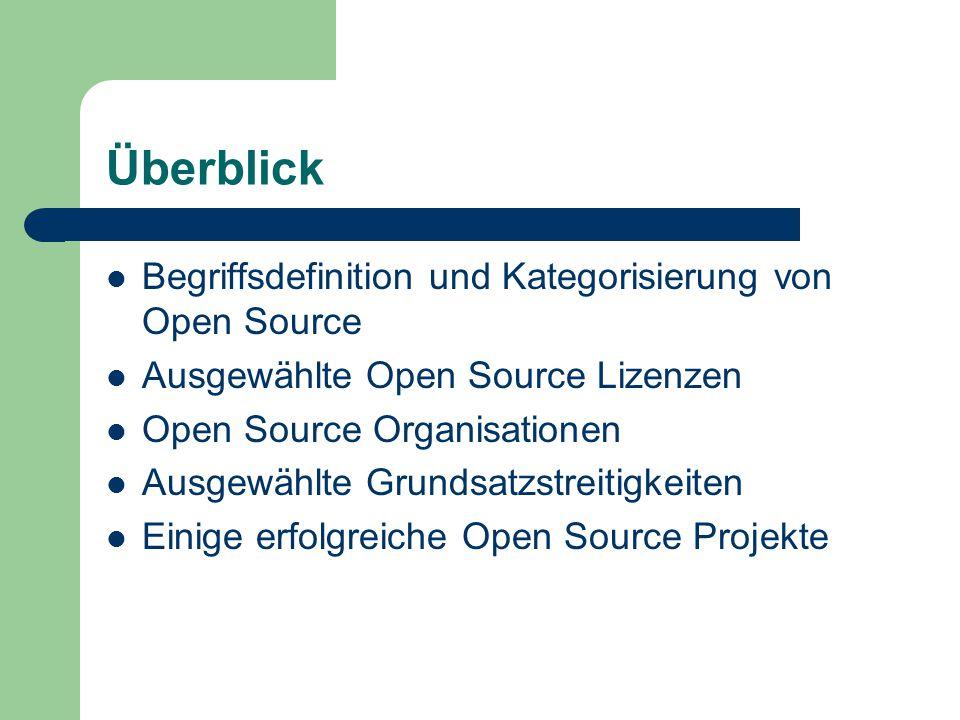 Überblick Begriffsdefinition und Kategorisierung von Open Source Ausgewählte Open Source Lizenzen Open Source Organisationen Ausgewählte Grundsatzstre