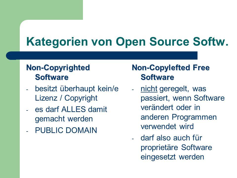 Kategorien von Open Source Softw. Non-Copyrighted Software - besitzt überhaupt kein/e Lizenz / Copyright - es darf ALLES damit gemacht werden - PUBLIC