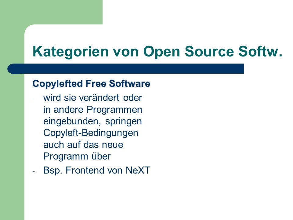 Kategorien von Open Source Softw. Copylefted Free Software - wird sie verändert oder in andere Programmen eingebunden, springen Copyleft-Bedingungen a