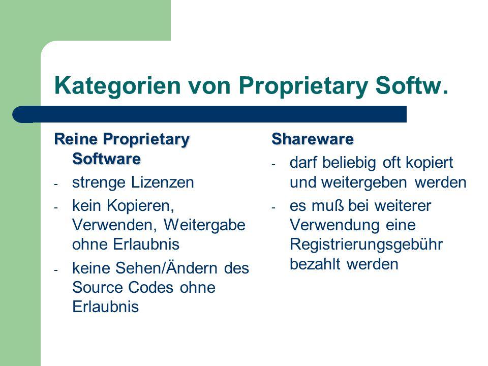 Kategorien von Proprietary Softw. Reine Proprietary Software - strenge Lizenzen - kein Kopieren, Verwenden, Weitergabe ohne Erlaubnis - keine Sehen/Än