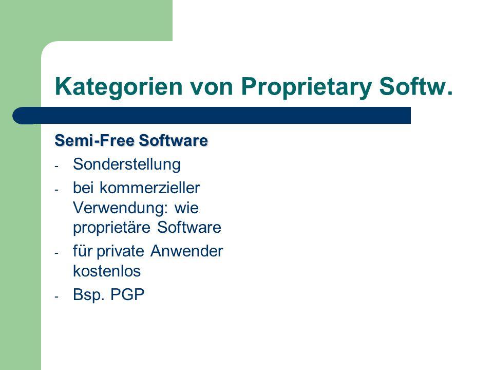Kategorien von Proprietary Softw. Semi-Free Software - Sonderstellung - bei kommerzieller Verwendung: wie proprietäre Software - für private Anwender