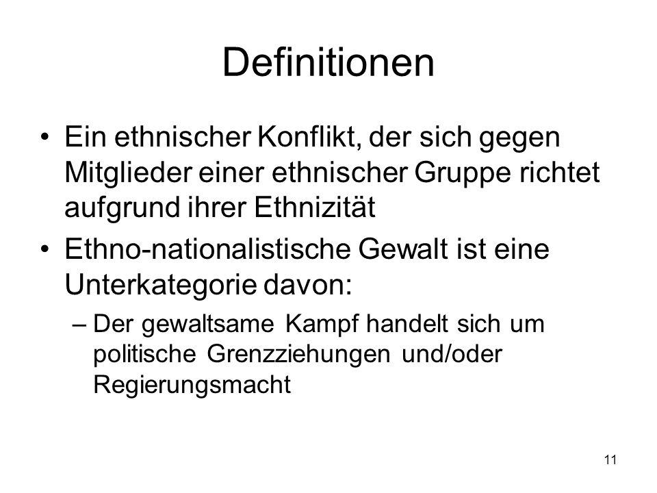 11 Definitionen Ein ethnischer Konflikt, der sich gegen Mitglieder einer ethnischer Gruppe richtet aufgrund ihrer Ethnizität Ethno-nationalistische Ge