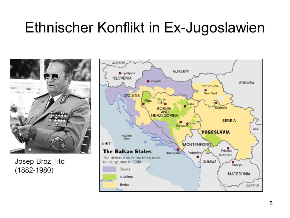 7 Der Weg zum Bürgerkrieg Milosevic schürt den serbischen Nationalismus 1987 im Kosovo Der Krieg fängt 1991 mit der Intervention gegen Slowenien an Franjo Tudjman mobilisiert die kroatischen Nationalisten