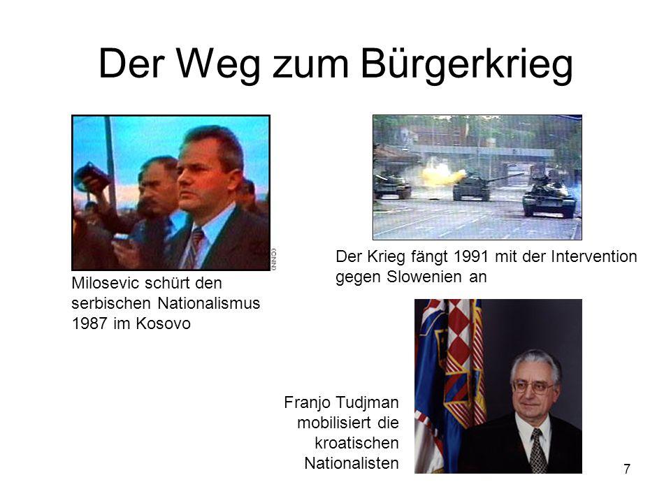 7 Der Weg zum Bürgerkrieg Milosevic schürt den serbischen Nationalismus 1987 im Kosovo Der Krieg fängt 1991 mit der Intervention gegen Slowenien an Fr