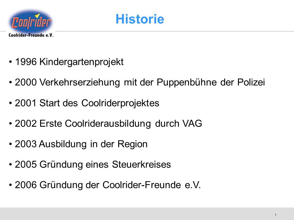 1 Historie 1996 Kindergartenprojekt 2000 Verkehrserziehung mit der Puppenbühne der Polizei 2001 Start des Coolriderprojektes 2002 Erste Coolriderausbi