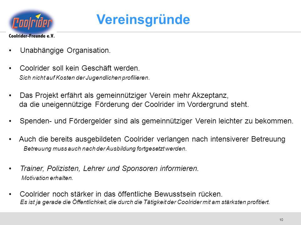 10 Vereinsgründe Unabhängige Organisation. Coolrider soll kein Geschäft werden. Sich nicht auf Kosten der Jugendlichen profilieren. Das Projekt erfähr