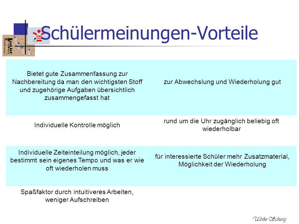 Ulrike Schurig Schülermeinungen-Vorteile Bietet gute Zusammenfassung zur Nachbereitung da man den wichtigsten Stoff und zugehörige Aufgaben übersichtl