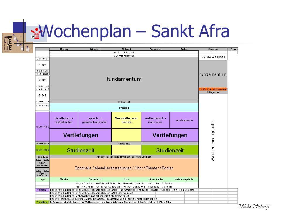 Ulrike Schurig Wochenplan – Sankt Afra