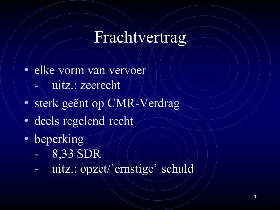 4 Frachtvertrag elke vorm van vervoer -uitz.: zeerecht sterk geënt op CMR-Verdrag deels regelend recht beperking -8,33 SDR -uitz.: opzet/'ernstige' schuld