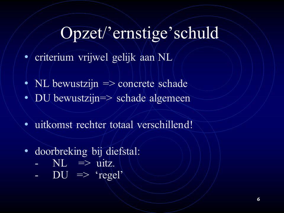 6 Opzet/'ernstige'schuld criterium vrijwel gelijk aan NL NL bewustzijn => concrete schade DU bewustzijn=> schade algemeen uitkomst rechter totaal verschillend.
