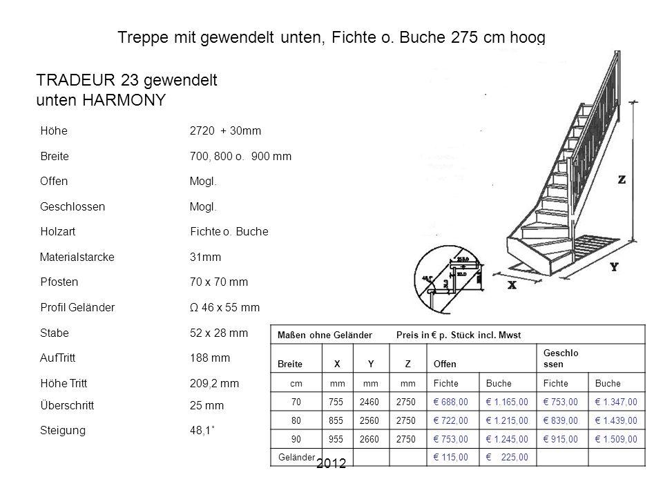 2012 Treppe mit gewendelt unten, Fichte o. Buche 275 cm hoog Höhe2720 + 30mm Breite700, 800 o. 900 mm OffenMogl. GeschlossenMogl. HolzartFichte o. Buc