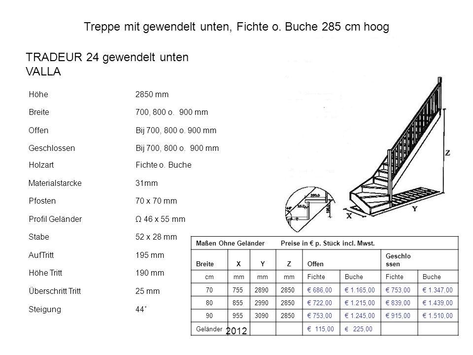 2012 Treppe mit gewendelt unten, Fichte o. Buche 285 cm hoog Höhe2850 mm Breite700, 800 o. 900 mm OffenBij 700, 800 o. 900 mm GeschlossenBij 700, 800