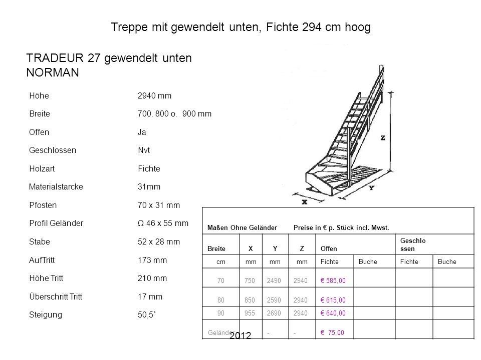 2012 Treppe mit gewendelt unten, Fichte 294 cm hoog Höhe2940 mm Breite700. 800 o. 900 mm OffenJa GeschlossenNvt HolzartFichte Materialstarcke31mm Pfos