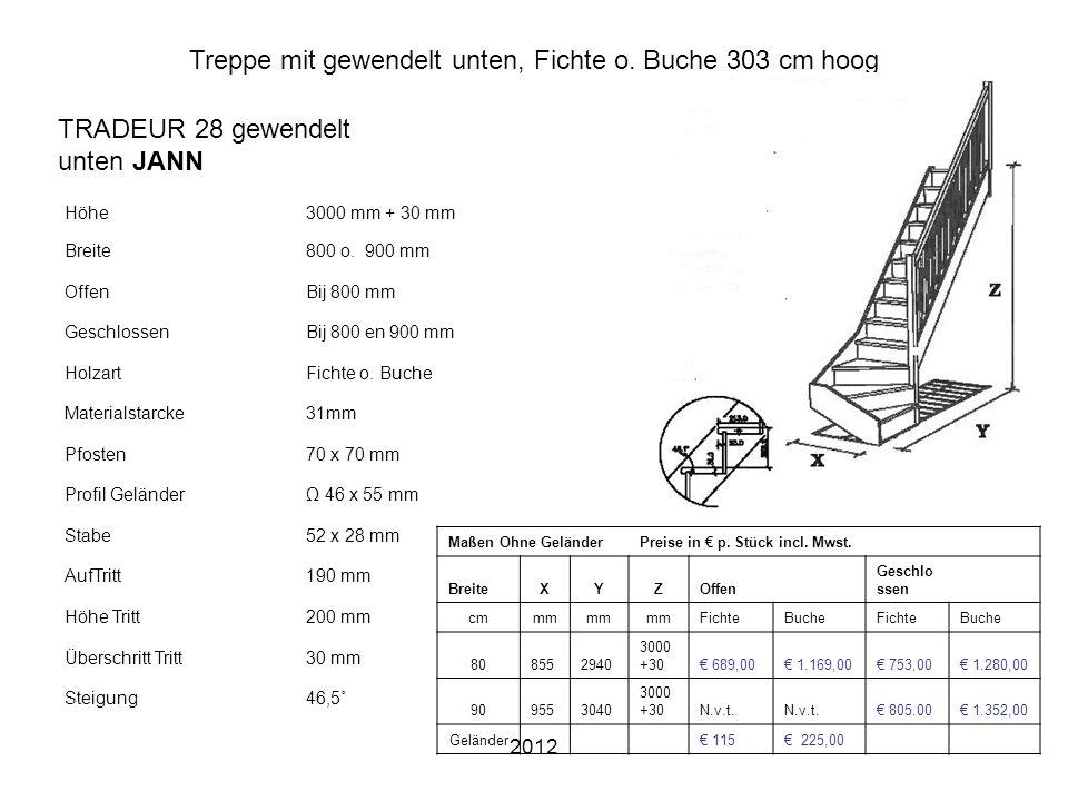 2012 Treppe mit gewendelt unten, Fichte o. Buche 303 cm hoog Höhe3000 mm + 30 mm Breite800 o. 900 mm OffenBij 800 mm GeschlossenBij 800 en 900 mm Holz