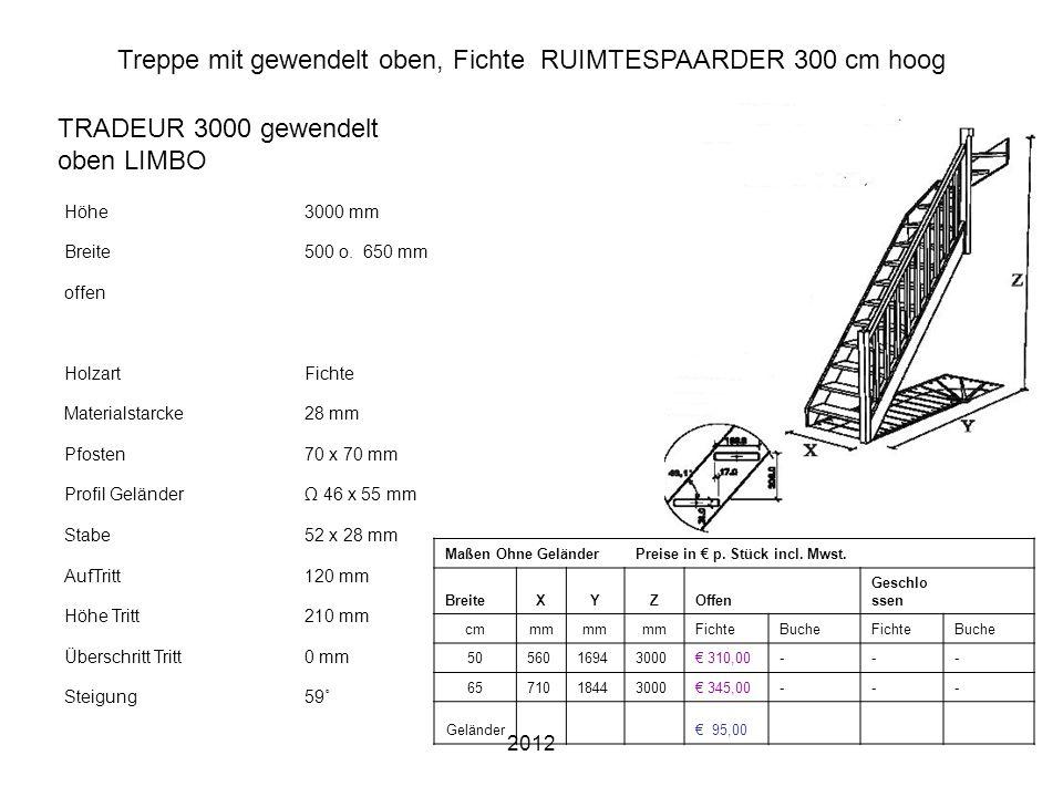 2012 Treppe mit gewendelt oben, Fichte RUIMTESPAARDER 300 cm hoog Höhe3000 mm Breite500 o. 650 mm offen HolzartFichte Materialstarcke28 mm Pfosten70 x