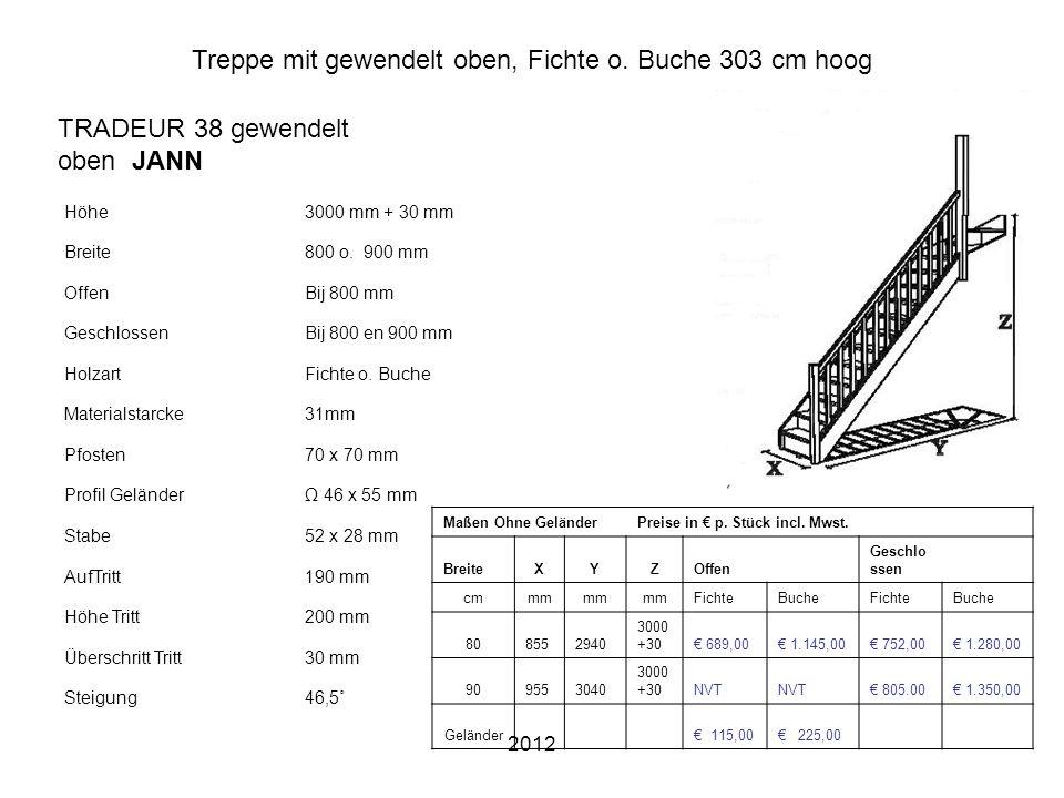 2012 Treppe mit gewendelt oben, Fichte o. Buche 303 cm hoog Höhe3000 mm + 30 mm Breite800 o. 900 mm OffenBij 800 mm GeschlossenBij 800 en 900 mm Holza