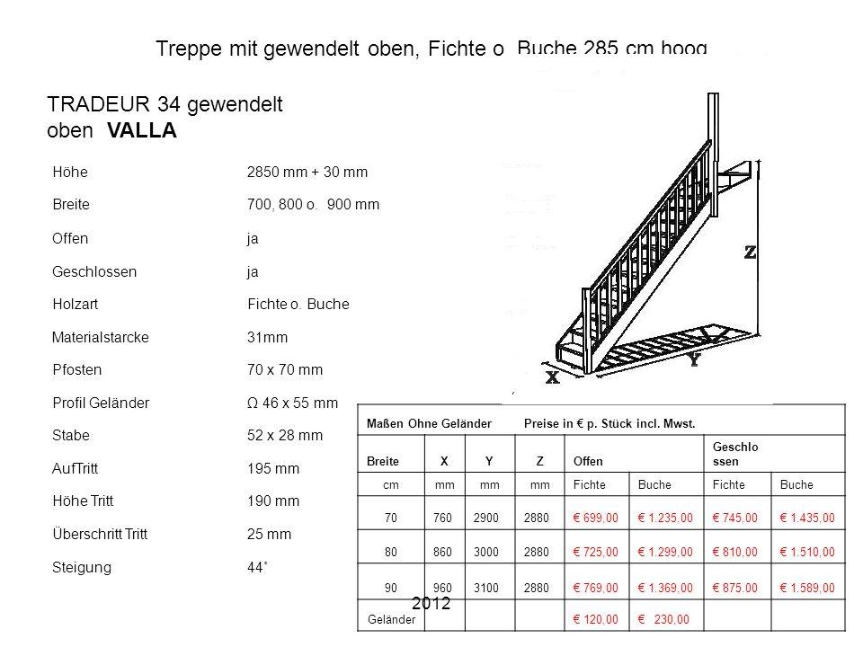 2012 Treppe mit gewendelt oben, Fichte o. Buche 285 cm hoog Höhe2850 mm + 30 mm Breite700, 800 o. 900 mm Offenja Geschlossenja HolzartFichte o. Buche