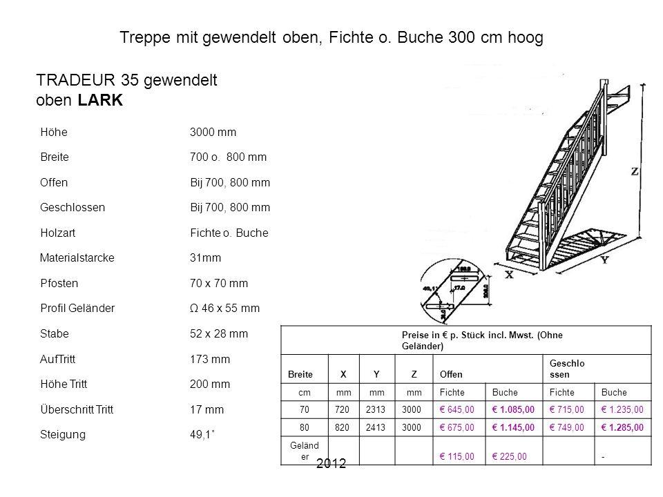 2012 Treppe mit gewendelt oben, Fichte o. Buche 300 cm hoog Höhe3000 mm Breite700 o. 800 mm OffenBij 700, 800 mm GeschlossenBij 700, 800 mm HolzartFic